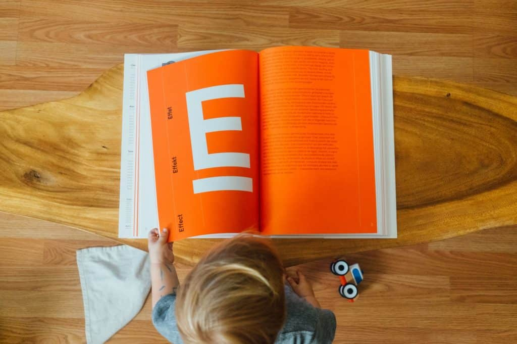 "A friend gave me a book called Logo Modernism, we keep it on our coffee table, one day my son was turning the pages and I snapped this when he got to ""E""."