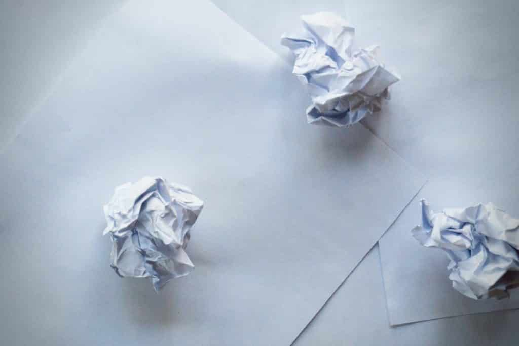 Scrap paper and crumpled paper