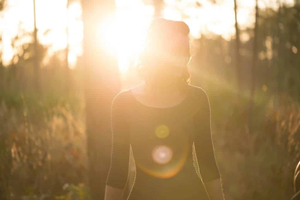 Woman in blinding sun