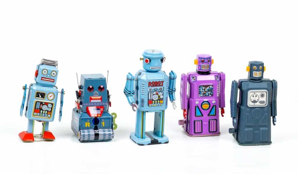 Little toy robots, collection of blue and pink colored