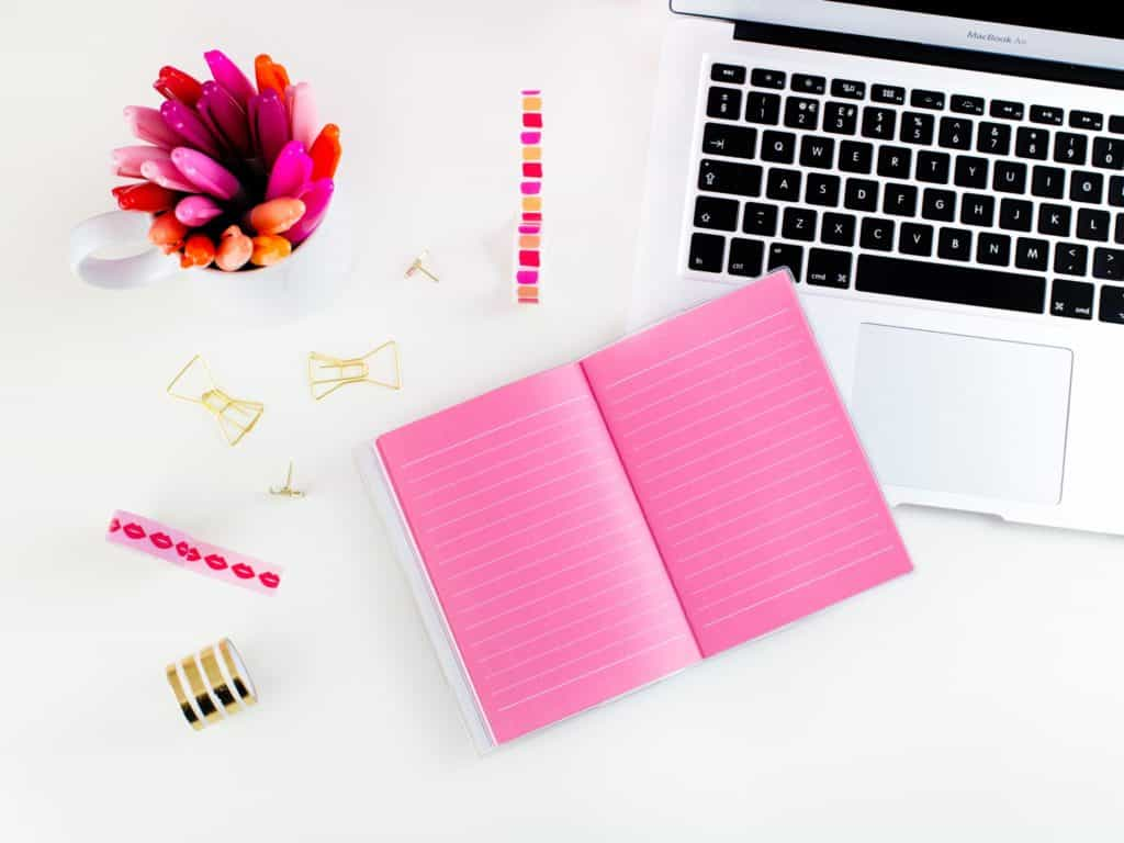 Pink And White Desk Flat Lay