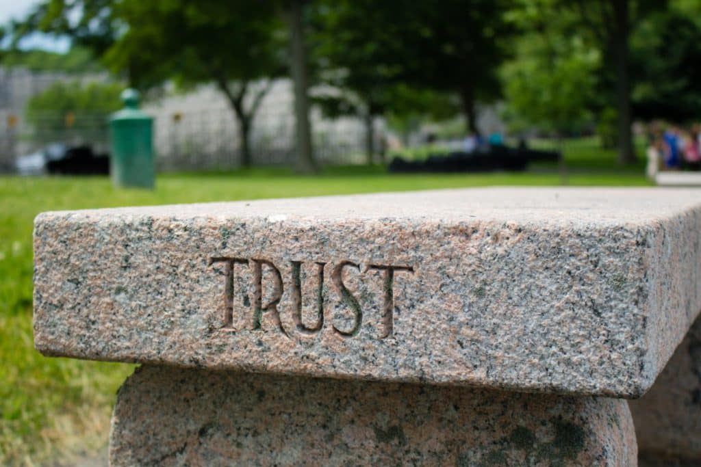 """Trust"" Bench near Trophy Point at West Point"
