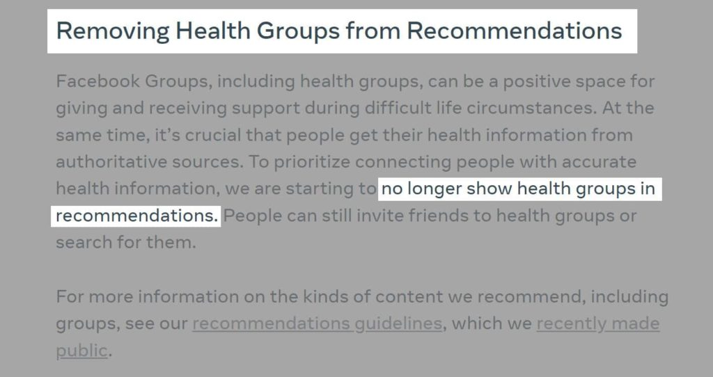 REMOVING HEALTH GROUPS FROM RECOMMENDATIONS, Starting a Coaching Business While Working Full Time